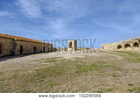 Courtyard of weapons Castle of Morella the province of Castellon Spain. Maestrazgo in Valencia Spain