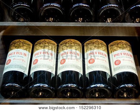 7 may 2014-siant emilion-france- petrus bottles of the most expensive wine in the world