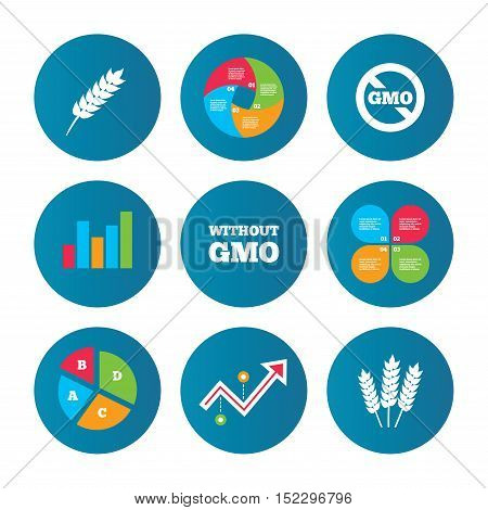 Business pie chart. Growth curve. Presentation buttons. Agricultural icons. Gluten free or No gluten signs. Without Genetically modified food symbols. Data analysis. Vector