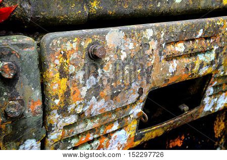 the path of old crawler dozer object very grunge peeling out of colour like abstract art
