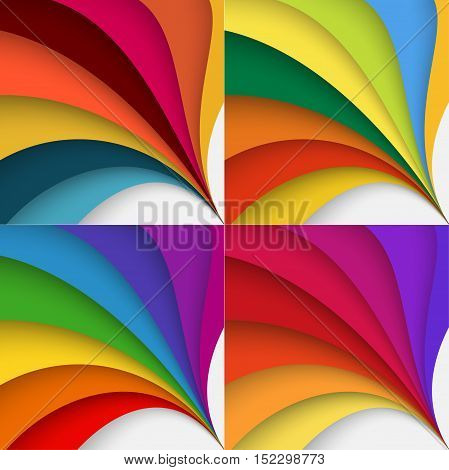 Set ot abstract colorful background with twisted forms, vector graphic includes brown, yellow, orange, red and violet colors.