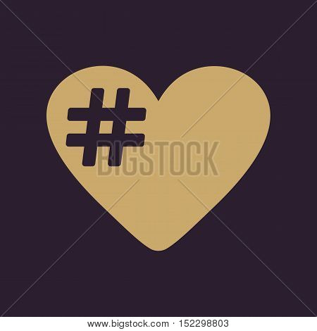 The hash love icon. Hashtag heart symbol. Flat Vector illustration