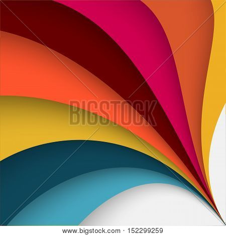 Abstract colorful background with twisted forms, vector graphic includes spectral summertime colors as , orange, yellow, blue  and green.