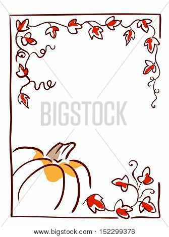Pumpkin with tendrils and large lobed leaves. Halloween greeting or invitation card vertical template, hand drawn sketchy illustration.