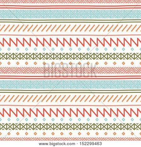 Tribal hand drawn line geometric mexican ethnic seamless pattern. Border. Wrapping paper. Doodles. Vintage tiling. Handmade native vector illustration. Aztec background. Ink graphic texture