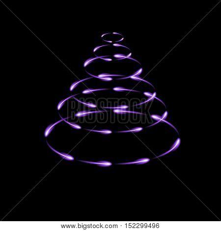 Purple cone made by fireflies modern vector christmas tree dark background