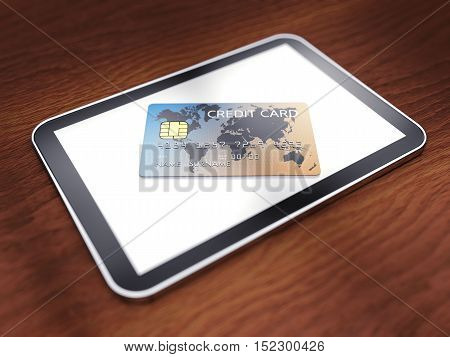 Generic tablet and credit card on wooden background , Mobile device shopping , 3d illustration