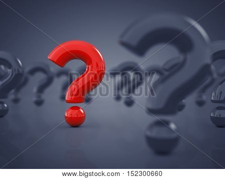 Red question mark standing out amid white question marks , 3d illustration