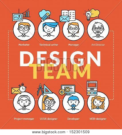 Design team. Vector illustration concepts of team community with profile and position icons. Thin line flat design banners for website and mobile website.