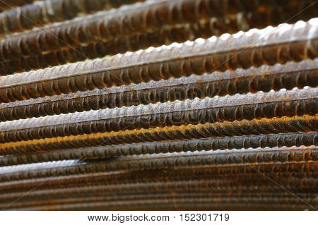 Reinforcing steel detail construction background industries theme.