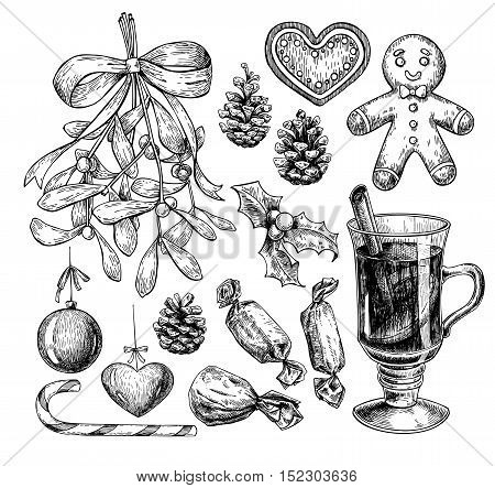 Christmas object set. Hand drawn vector illustration. Xmas icons collection. Holiday engraved decorations. Holly mistletoe gingerbread man mulled wine pine cone candy xmas ball