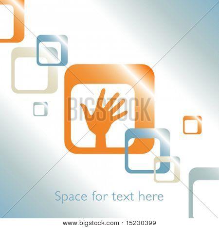 Hand-Design mit Platz für Text.