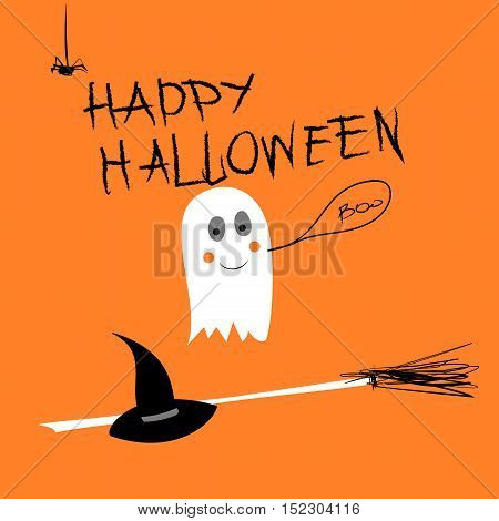 Vector Poster or Greeting Card with hand written text Happy Halloween and cartoon Ghost, Hat and Broom on an orange background.