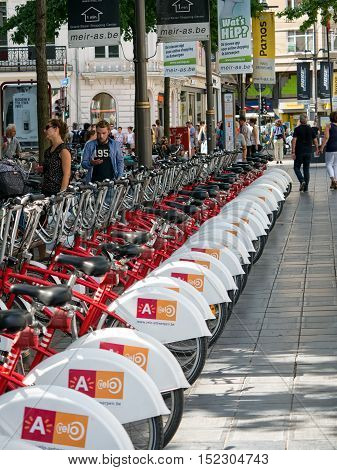 ANTWERP, BELGIUM - 10 SEPT. 2016: Bicycle parking for rental bikes in Antwerp, Belgium. 'Velo' is one of the largest bike rental systems in the world.