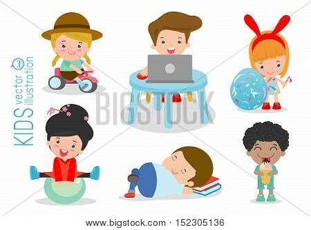 kids time, happy kids with toys, children play with toys, cute kids playing with toys, child with toys,kids at playground on white background, Happy children playing, kid toys, child toy, Illustration