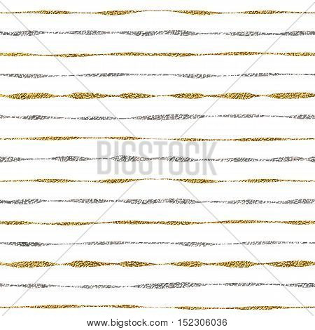 Seamless pattern of gold and silver lines, seamless background grunge golden and silver stripes