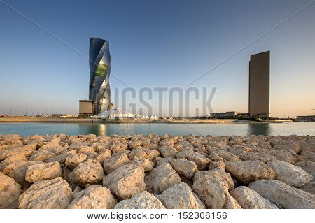 MANAMA, BAHRAIN - OCTOBER 14, 2016: View of The United Tower and the Four Seasons Hotel in Bahrain Bay