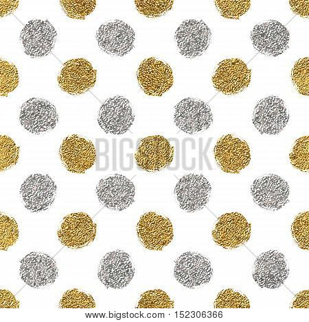 Seamless pattern of gold glitter and silver polka dots, hand painted background of golden and silvern circles