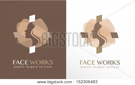 WOMAN FACE SILHOUETTE , INSIDE AN ABSTRACT CROSS SHAPE, MODERN LOGO / ICON