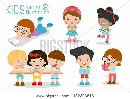 cute kids reading books,cute children reading books, Happy Children while Reading Books, kids while Reading Books, kids Reading Books Vector Illustration on white background.