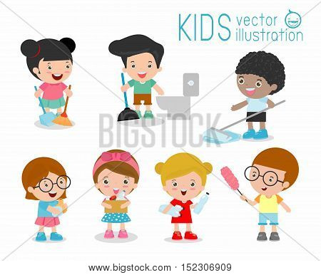 kids doing cleaning, kids washing and cleaning house, children members doing different chores illustration, child cleaning, kids cleaning, set of cute kids To do housework on white background