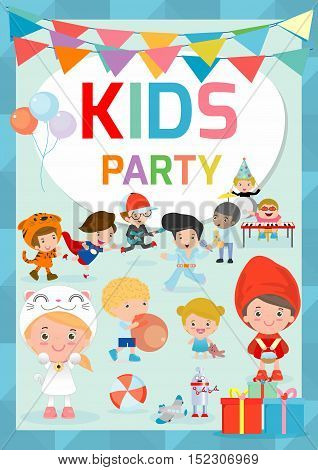 Kids Party design template, children happy party celebration Flyer, Banner or pamphlet, Template for advertising brochure,your text ,Cute little kid party, kid party, child party, Vector Illustration.