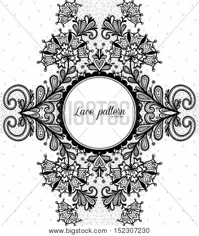 Floral Background. Vector greeting card invitation black and white Vector illustration