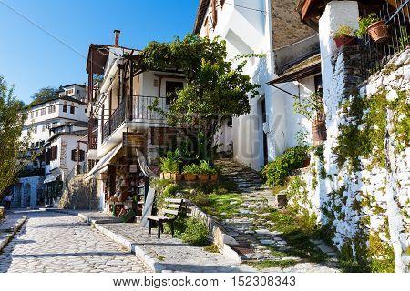 Makrinitsa, Greece - October 11, 2016: Street view at Makrinitsa village of Pelion, Greece