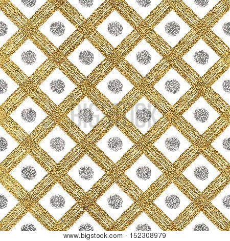 Grunge seamless pattern of gold silver diagonal stripes and circle, seamless golden silver background lines, points