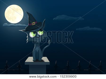 Digital painting of a halloween cat with copyspace