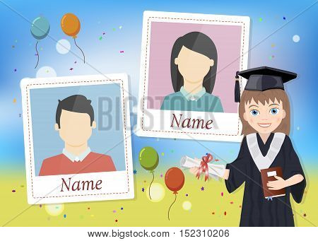 Yearbook with graduate schoolgirl and two photos vector
