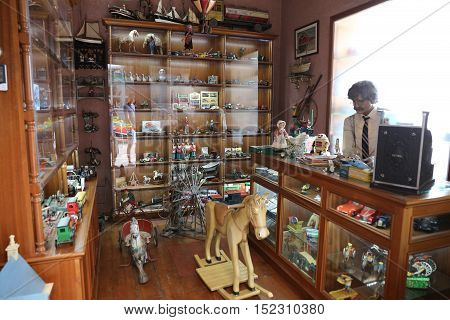 ISTANBUL TURKEY - JULY 29 2016: Old Toy Shop recreation in Rahmi M. Koc Industrial Museum. Koc museum is industrial Museum dedicated to history of transport industry and communications