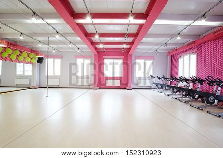 Fitness hall with sport bicycles