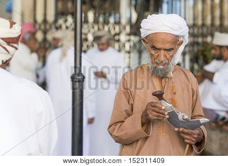 Nizwa Oman October 13th 2016: old man at a gun market