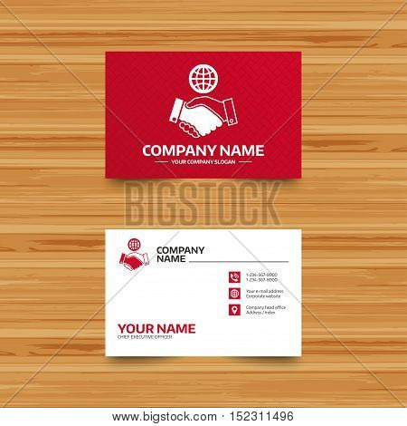 Business card template. World handshake sign icon. Amicable agreement. Successful business with globe symbol. Phone, globe and pointer icons. Visiting card design. Vector