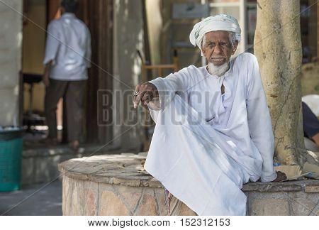 Nizwa Oman October 13th 2016: old man in nizwa gun market