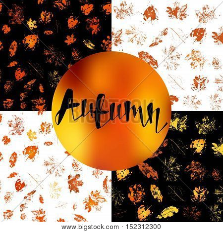Seamless autumn background pattern. Hand drawn grunge leaves and lattering the autumn word.