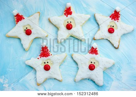 Christmas cookies santa claus creative idea for treats kids funny edible santas of star cookies recipe holiday baking Christmas background