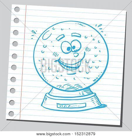 Funny cartoon snow globe