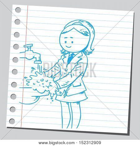Businesswoman washing hands