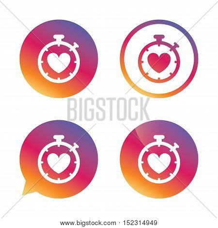 Heart Timer sign icon. Stopwatch symbol. Heartbeat palpitation. Gradient buttons with flat icon. Speech bubble sign. Vector