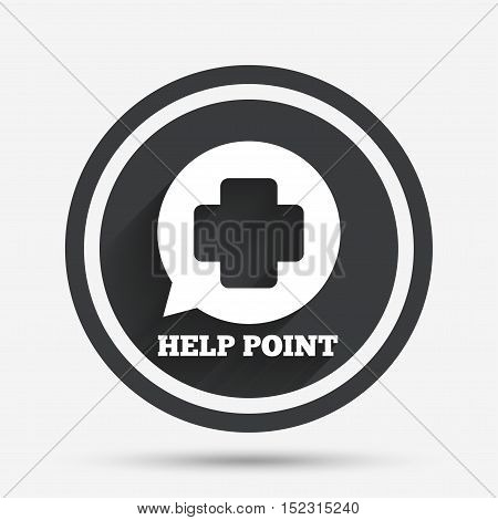 Help point sign icon. Medical cross symbol. Circle flat button with shadow and border. Vector