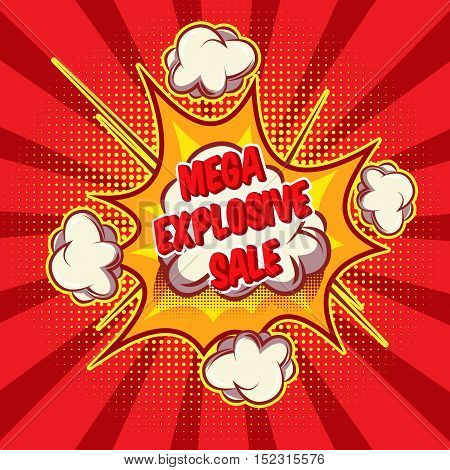 Mega sale comic style poster with explosive cloud on red radial background with dot pattern vector illustration