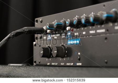 Guitar amplifier rig, preamp and power amp detail