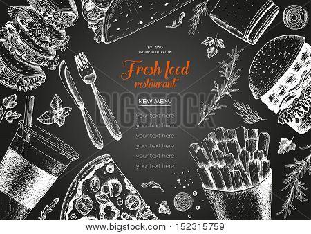 Fast food top view frame. Fast food banner snack collection. Vintage vector illustration. Drawn in ink. Set of fast food junk food.