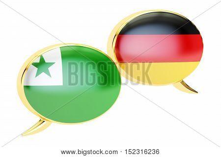 Speech bubbles Esperanto-German conversation concept. 3D rendering