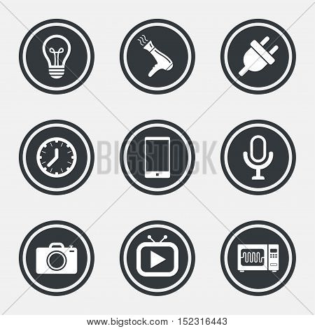 Home appliances, device icons. Electronics signs. Lamp, electrical plug and photo camera symbols. Circle flat buttons with icons and border. Vector