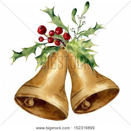 Watercolor christmas bell with mistletoe and holly decor. Gold bells with traditional decor isolated on white background. For design, prints or background.