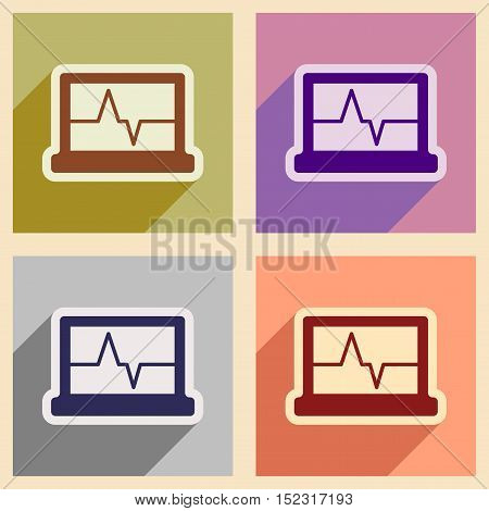 Icons of assembly ECG machine in flat style