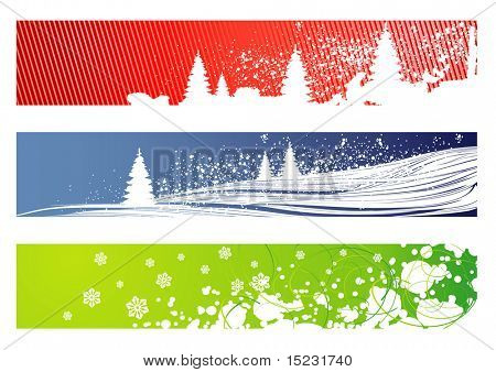 red, blue and green vector christmas banners